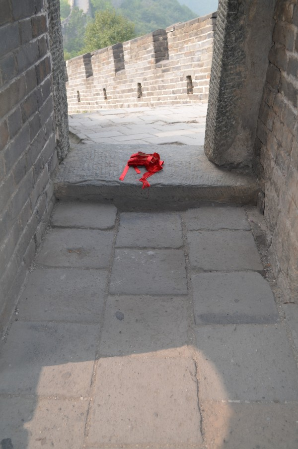 image of red shoes watch-tower Great Wall